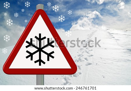 snow, ice, triangle road sign, pick of the mountain, snowflakes - stock photo