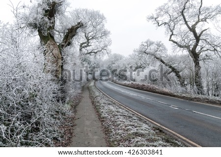 Snow in Cheshire, a county in northwest England