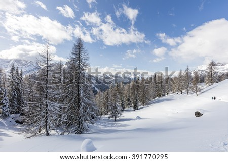 Snow in high mountains, Staulanza, Dolomites