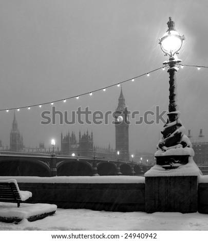 Snow in London - stock photo