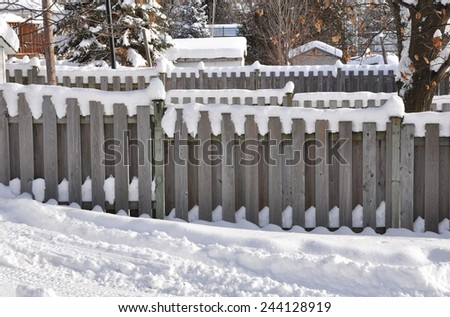 Snow in the backyard - stock photo