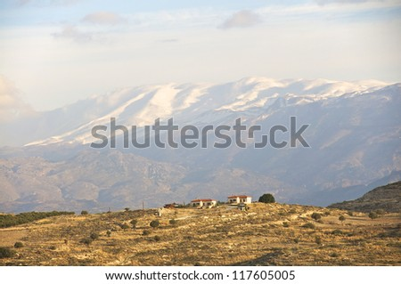 Snow in the Ida mountains. Crete in late November