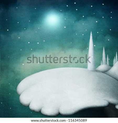 Snow landscape - stock photo