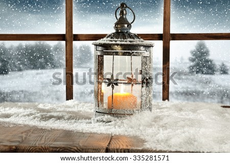 snow light lamp and window place  - stock photo