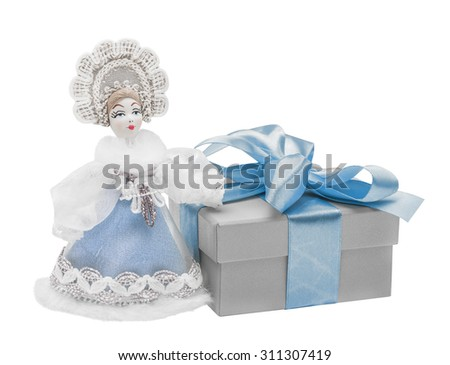 Snow Maiden. gift, bow, Isolated on white - stock photo