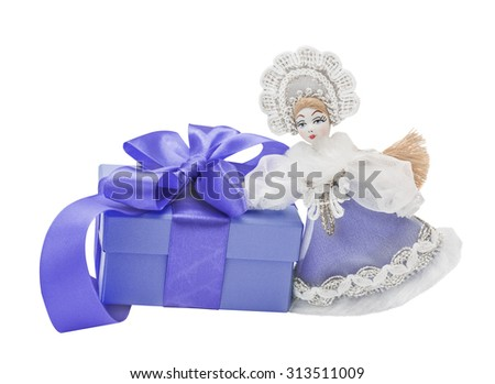 Snow Maiden. gift, bow, Isolated  white - stock photo