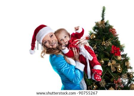 snow maiden joy with baby santa claus portrait - stock photo