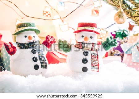 Snow man with the ornament,Over light with gifts and presents. Wait Santa Claus in Merry christmas and Happy New year Night