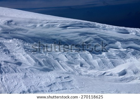 Snow mass under summit  of Rippetegg, Austria - stock photo