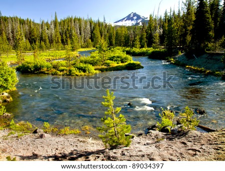 Snow melt stream flowing from the base of a snow capped mountain in the Oregon cascades. - stock photo