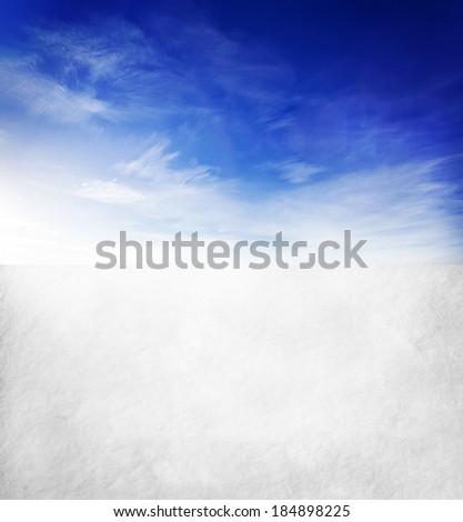 snow mountain and blue sky - stock photo
