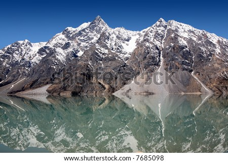 Snow mountain and lake at southwest China