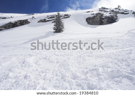 Snow mountain and ski slope. Winter concept - stock photo