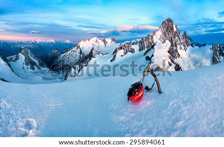 Snow mountain at Finsteraarhorn, Switzerland - stock photo