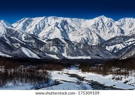 snow mountain in Japan  - stock photo