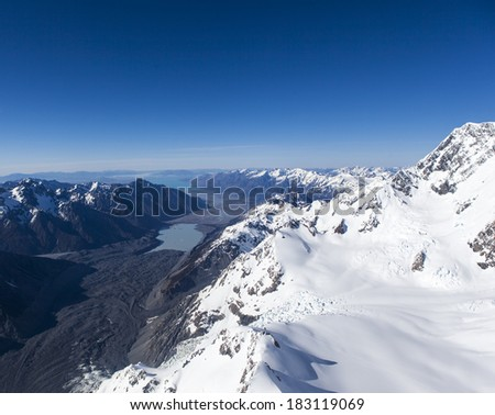 snow mountain in New Zealand - stock photo