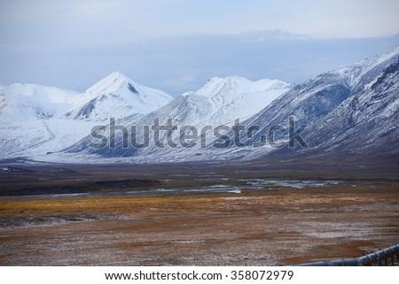 snow mountain in northern alaska - stock photo