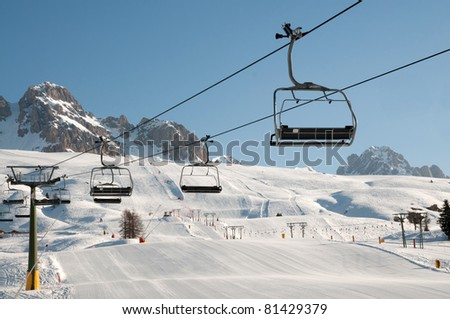 Snow mountain landscape - Dolomites - stock photo