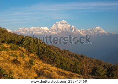 Snow mountain landscape in Nepal (Poonhill) - stock photo