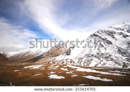 Snow mountain of Himalaya range in India - stock photo