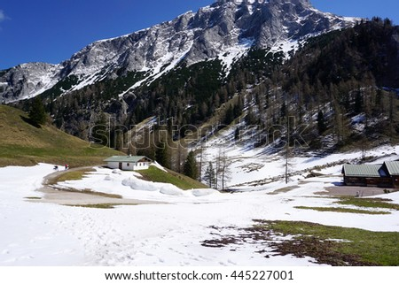 Snow mountain on the way to Mount Janner peak in Berchtesgaden, Germany
