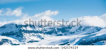 Snow Mountain Range Landscape with Blue Sky from Gornergrat - stock photo