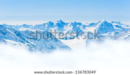 Snow Mountain Range Landscape with Blue Sky from Jungfrau Region - stock photo