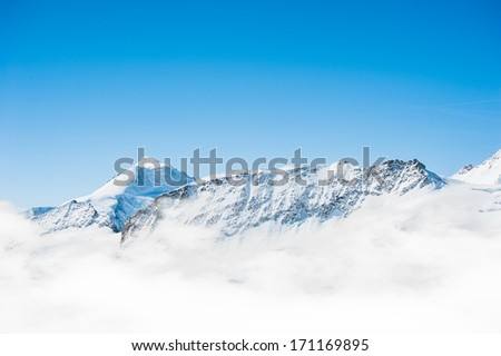 Snow Mountain Range Landscape with Blue Sky from Jungfrau Region