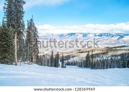 Snow mountain view - stock photo