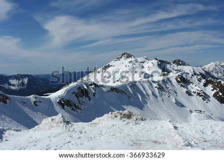 Snow mountain, winter landscape, Sochi, Russia - stock photo