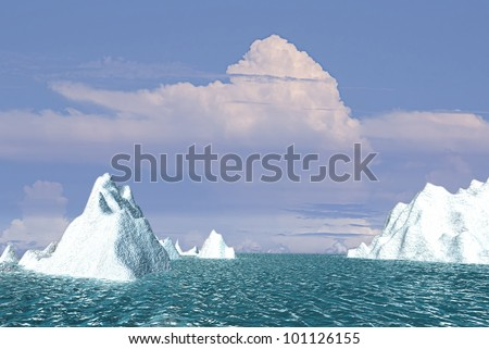 Snow mountain with nice sky - stock photo