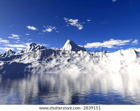 Snow mountain with water reflection - stock photo