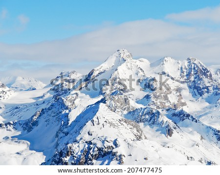 snow mountains in Paradiski skiing domain, Les Coches - Montchavin , France