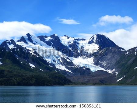 snow mountains landscape at alaska - stock photo