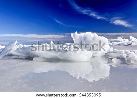 Snow on ice surface landscape