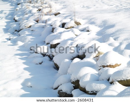 snow on river side - stock photo