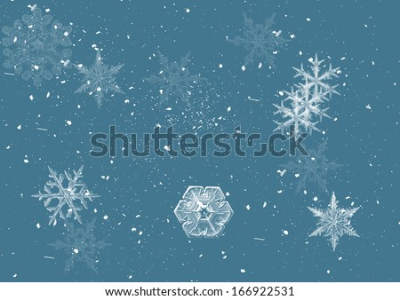 snow on the blue background - stock photo