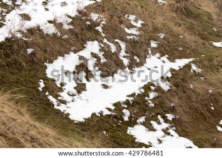 snow on the ground in nature - stock photo
