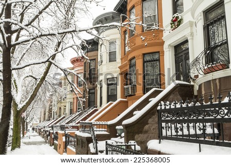 Snow on the trees and the stoops of historic Brownstone apartments in Crown Heights, Brooklyn - stock photo