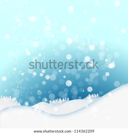 Snow on winter background. Hills and trees with the idyllic blue sky. Postcard background - stock photo