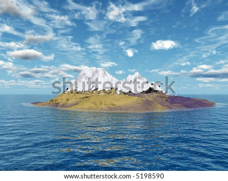 Snow peak mount on a blue sea - 3d scene.