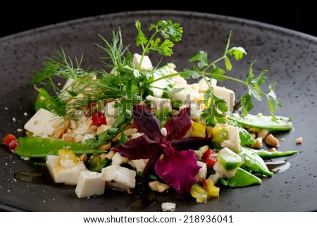 Snow peas with silken tofu salad with cashew nuts - stock photo