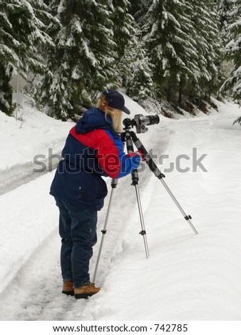 Snow Photographer Standing - stock photo