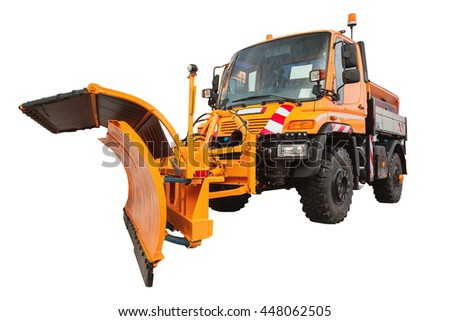 Snow plow removal machine isolated on white background with clipping path - stock photo