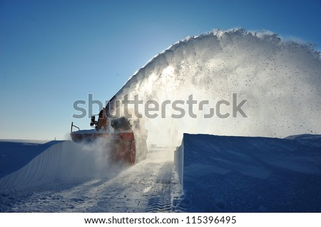 snow plow working
