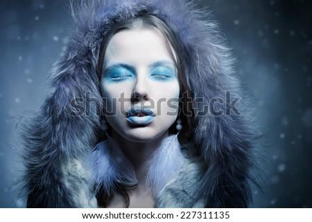 Snow Queen, creative closeup portrait - stock photo