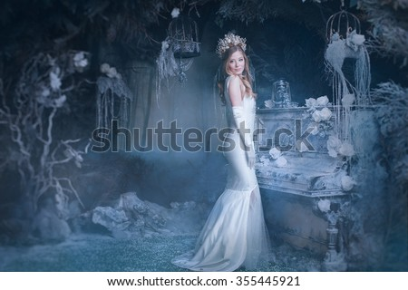snow Queen in fairy forest - stock photo
