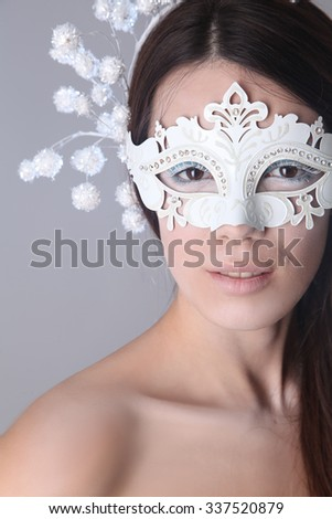 Snow queen on blue background - stock photo