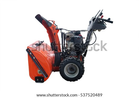 snow-removal mini tractor isolated under the white background