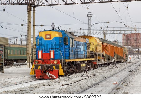 snow removal train - stock photo